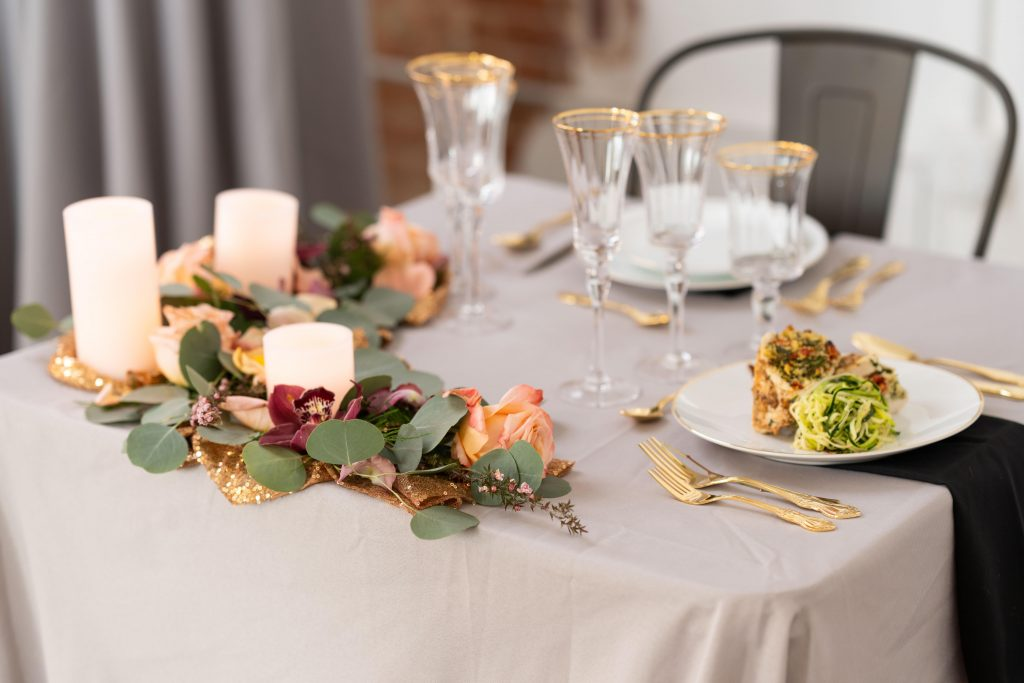 Dinner table setting for two.