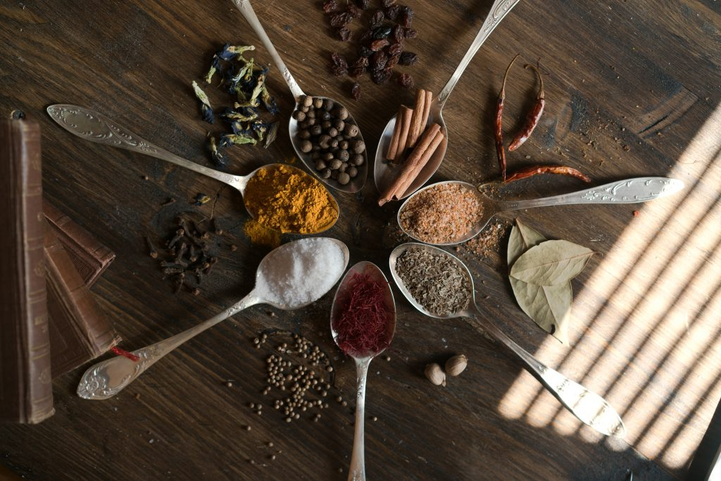 Assorted dry spices.
